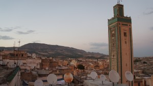 minaret with satellite dishes