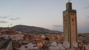 minaret with satellite dishes